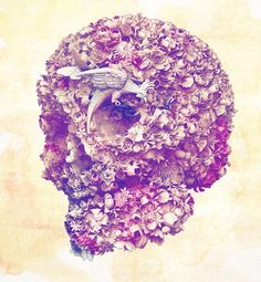 Jacky Tsai's floral skull artwork Kat Von D, Crane, Skull Artwork, Floral Skull, Skull Design, Skull And Bones, Pop Art, Art Photography, Illustration Art