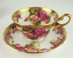 Set 4 x Teacups Saucers Vintage Royal Chelsea Golden Rose Discounted | eBay