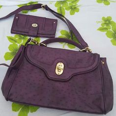 Aldo purple bag/wallet bundle Aldo purple ostrich print bag & wallet bundle. Excellent condition. No trades. ALDO Bags Satchels
