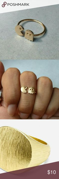 New ring pacman cute whimsical gamer geek New pac man ring Brushed gold plated (brushed gold exemplified in the last picture) Size 6 Old school whimsical Pacman and ghost  Super cute oldies gamer ring Jewelry Rings