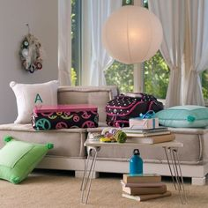 teen lounge seating , love the neutral color and style of this room. Perfect for a transitional kid to teen space
