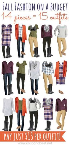 Fall Fashion on a Budget - see how we turned 14 pieces of clothing into 15 outfits! Mix and max these pieces to create trendy outfits on a budget.
