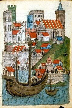 Habour-boats and city. A Journey. German c. 1467 Egerton 1900 BL