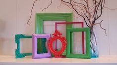 Lime Empty Collage Frames Gallery Vintage Frame Set by FeFiFoFun,