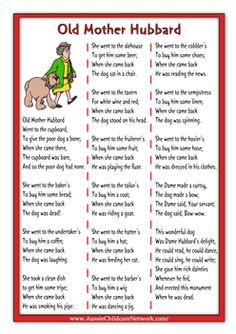 Old Mother Hubbard printable rhymes Nursery Rhymes Lyrics, Nursery Rhymes Preschool, Nursery Songs, Kindergarten Songs, Preschool Songs, Silly Songs, Baby Songs, Nursery Rhythm, Aussie Childcare Network