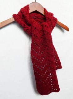 Dark Red Chevron Crochet Scarf   Ripple Scarf by AbigailsAttic112