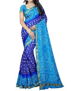 Bandhani Women Silk Saree Rajasthani Art Silk Bandhani Saree with Blouse Piece Women Unstitched Blouse Bandhej Print sky blue color Bandhani Saree, Silk Sarees, Saris, Indian Sarees, Designer Sarees Collection, Saree Collection, Rajasthani Dress, Rajasthani Art, Designer Blouse Patterns
