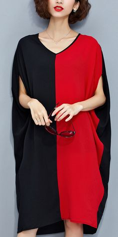 stylish-red-black-patchwork-chiffon-polyester-dresses-trendy-plus-size-traveling-clothing-top
