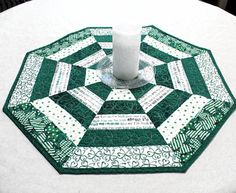 Octagon Quilted St. Patrick's Day Table Topper by QuiltSewPieceful