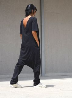 Maxi Black Jumpsuit with Short Sleeves, Two Sided Large Size Everyday  Overall, Open Back Black Harem Overall with V Neck Drop Crotch Women. Mode  Für ... b490eb1bc5