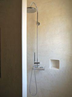 resin bathroom shower - Salento; shower fixture & inset for soap