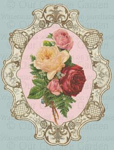 ROSE CORNER PHOTO FRAME DRESDEN RED LARGE SCRAPBOOK FLORAL HERITAGE PAPER ART