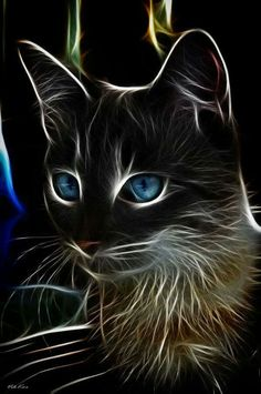 cat by Viktor Korostynski Another stunning animal-fractal art piece. The blue eyes contrast so neatly with the face. I love cats and I love this art! Art Fractal, Image Chat, Tier Fotos, Cat Drawing, Beautiful Cats, Beautiful Artwork, Crazy Cats, Cool Cats, Cat Art