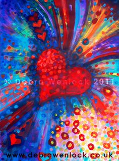 """Big Bold Colour Bursting Heart acrylic painting """"Opening the Heart"""" by Debra Wenlock"""