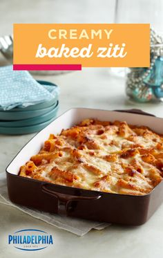 Creamy Baked Ziti Creamy Is The Key Word Hereas Sour Cream And Cream Cheese Take A Tomato, Marinara And Ziti Casserole To A Whole New Level Of Pasta Deliciousness. This Easy Dinnertime Dish Is Ready For The Oven In 25 Minutes. Casserole Dishes, Casserole Recipes, Pasta Recipes, Crockpot Recipes, Cooking Recipes, Italian Dishes, Italian Recipes, Pasta Dinners, Meals