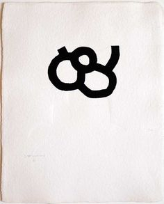 "Eduardo Chillida - Lorea, 1988, Silkscreen relief on Meirat Paper   ""Chillida's graphic work, like his sculpture, shows a preoccupation with form, space and framing.  Absence is therefore as important as presence. The balance of dualities in his work such as black-white, heaviness-lightness and emptiness-fullness give Chillida's work a universal importance."""