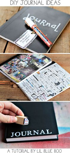 DIY Journal Ideas (Chalkboard, Transfer, Stamped) via lilblueboo.com #theliljournalproject