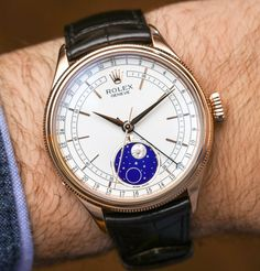 The most compelling new Rolex watch presented by the Swiss brand at Baselworld 2017 was the Rolex Cellini Moonphase. Amazing Watches, Cool Watches, Apple Watch Fashion, Baselworld 2017, Rolex Cellini, Breitling Chronomat, Skeleton Watches, New Rolex, Elegant Watches