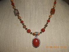 Siver Plated Red Jasper Pendant necklace with by JaysonsCreations, $26.00