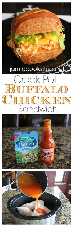 Shredded Buffalo Chicken Sandwiches (Crock Pot)...*I added 8 oz cream cheese and a little blue cheese dressing at the end to make it a little creamier.  Served on croissants with sliced cheddar and lettuce.  Very good!
