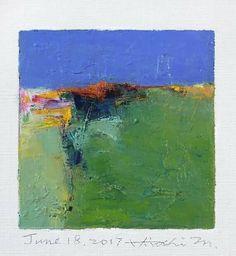 "June 18, 2017 9 cm x 9 cm (app. 4"" x 4"") oil on canvas © 2017 Hiroshi Matsumoto"