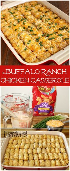 Buffalo Ranch Chicken Casserole Recipe - Enjoy Buffalo Ranch dip? Try this easy casserole recipe using Tater Tots, Chicken, Hot Sauce and Ranch Dressing. This recipe is always popular at parties!