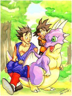 Gohan, Goten and Icarus. Guess Goku ate him. He just disappears Dbz, Goku Y Vegeta, Dragon Ball Z, Dragon Nest, Pop Culture Art, Anime Style, Poster Prints, Fan Art, Animation