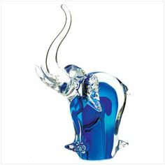 this elephant statue is a sparkling treasure. Elephant Figurines, Glass Figurines, Elephant Gifts, Murano Glass, Cobalt Blue, Shades Of Blue, Decorative Accessories, Glass Art, Crystals