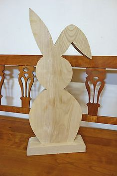Big Easter bunny rabbit cut out of solid wood, Easter deco hare easter decoration - Ostern - Reclaimed Wood Projects, Wooden Projects, Wood Crafts, Wood Carving Patterns, Wood Cutouts, Wooden Decor, Deco Mesh Wreaths, Easter Crafts, Seasonal Decor