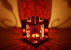 Stained Glass Red Candle Holder by GailsGlassGarden on Etsy