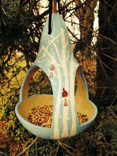 porch paint ideas Gourd Bird Feeder Gourd Art a Birds Gathering by OldPinkFarmHouse Decorative Gourds, Hand Painted Gourds, Garden Crafts, Garden Art, Gourds Birdhouse, Bird House Gourds, Diy And Crafts, Arts And Crafts, Deco Nature