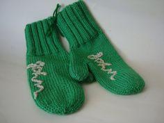 Vintage Mittens Handmade Adorable Green Name