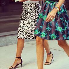 Printed skirts: Cristopher Kane floral skirt #StreetStyle