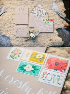 feather wedding stationery with vintage stamps #weddinginvitation #vintagestamps #weddingchicks http://www.weddingchicks.com/2014/03/28/organic-rooftop-sunset-wedding/