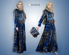 Dazzling Silk Printed Denim Abaya...To know more at: https://www.haiqah.co.uk/products/dazzling-silk-printed-denim-abaya?variant=20265879559  #happyeid #eid2016 #onlineshopping