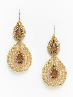 Miguel Ases Jewelry - Topaz & Cognac Beaded Double Teardrop Earrings - $120