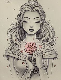 This is Beautiful ! Sketched picture of Disney Princess Belle, with only the ros. This is Beautiful ! Sketched picture of Disney Princess Belle, with only the rose in color. Disney Princess Belle, Princesa Disney Bella, Disney Princess Tattoo, Tattoo Disney, Tattooed Disney Princesses, Disney Tattoos Unique, Punk Princess, Princess Jasmine, Disney Fan Art