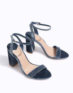 High heel velvet sandals - All | Stradivarius Romania
