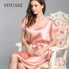 100% Genuine Silk Nightdress Female Cute Lace Round Neck Nightgowns Short Sleeve Summer Silk Women Sleepwear - MISS LADIES