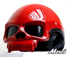 Gloss Red Skull Bike Helmet.  Want.