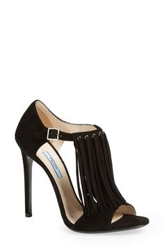 """Free shipping and returns on Prada Fringe Sandal (Women) at Nordstrom.com. 4 1/2"""" heel (size 39).<br>Buckle closure.<br>Suede upper, leather lining and sole.<br>By Prada; made in Italy.<br>Salon Shoes."""