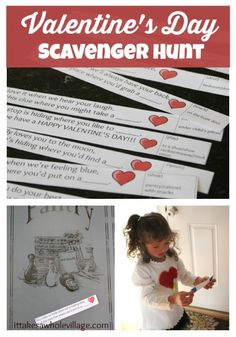 Valentine's Day Scavenger Hunt with clue printout