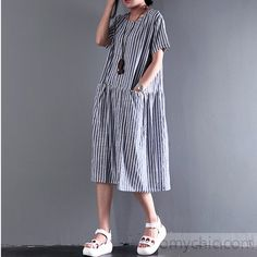 blue summer dress strips flatering fine linen sundress women casual maxi dress