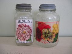 Set of Seed Saver Jars / w Seed Packet Prints
