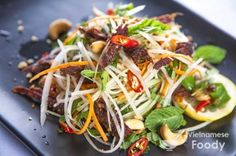 Vietnamese Green Papaya Salad comes in two guises and one of them features earthy beef jerky and heady Thai basil (hung que). The other version of green papaya salad is southern Viet and has shrimp