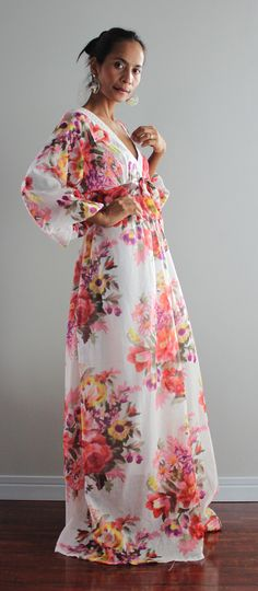 Boho Maxi Dress Long Sleeves Graphic Print  Asian Blend by Nuichan, $58.00