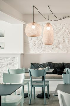 Upstairs bar? like the chair color. The sunami of white is forgiving towards the odd and varied surfaces. Intsight | Tramuntana Hotel
