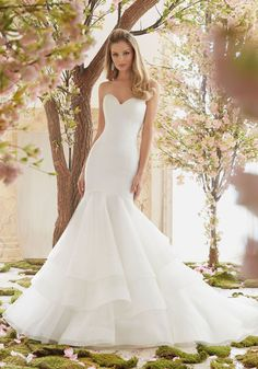 """Duchess Satin and Organza Wedding Dress Designed by Madeline Gardner. Available in Three Lengths: 55"""", 58"""", 61"""". Colors Available: White, Ivory"""