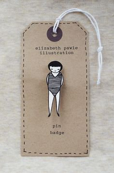 Little Swimmer pin badge  drawn from my original by ElizabethPawle, $16.00