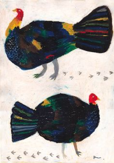 I like how simple the layout is and how gestural the chickens are. Art And Illustration, Naive Art, Bird Quilt, Bird Art, Graphic, Japanese Art, Pet Birds, Art Lessons, Illustrators
